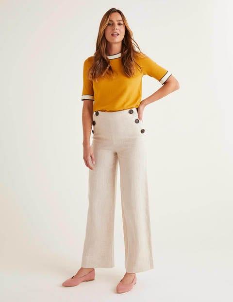60s Pants, Jeans, Hippie, Flares, Jumpsuits Falmouth Linen Trousers Ecru Women Boden Ecru £4.00 AT vintagedancer.com