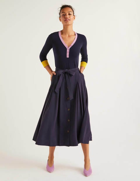 Lennox Button Skirt - Navy