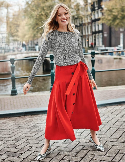 Lennox Button Skirt - Post Box Red