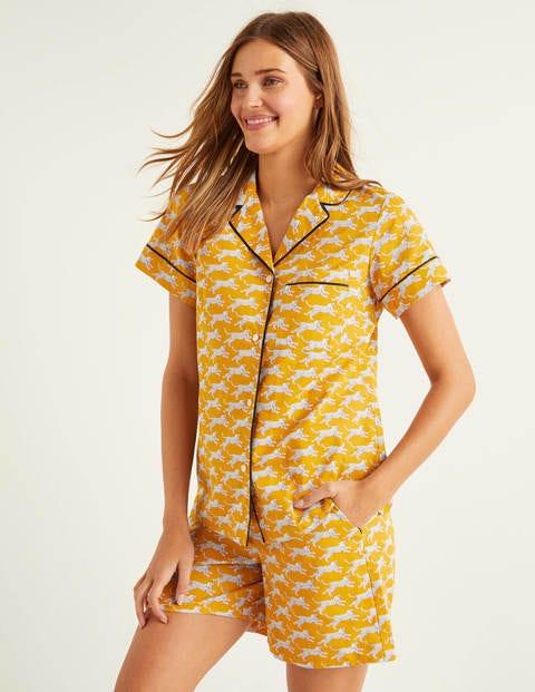 Phoebe Short PJ Shirt - Yellow, Spotted Cheetah