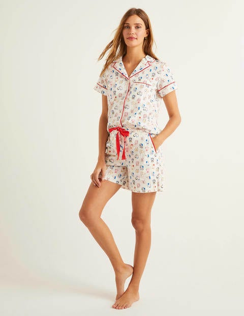 Phoebe Pj Shorts - Ivory and Bold Blue, Rufus