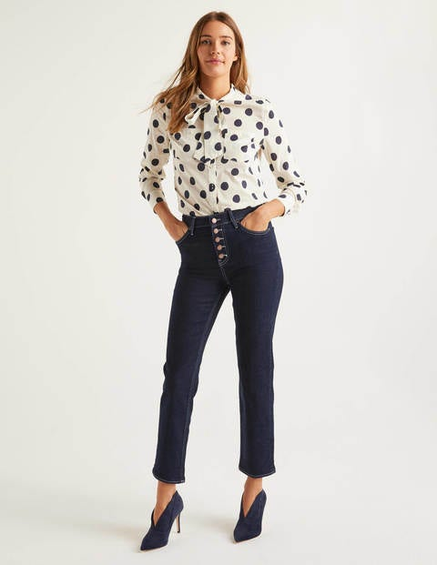 Button Fly Straight Jeans - Indigo/Ivory