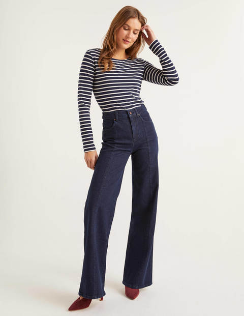 Vintage High Waisted Trousers, Sailor Pants, Jeans Front Line Wide Leg Jeans Denim Women Boden Indigo £48.00 AT vintagedancer.com
