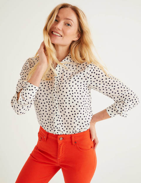 The Silk Shirt - Ivory and Navy, Scattered Spot