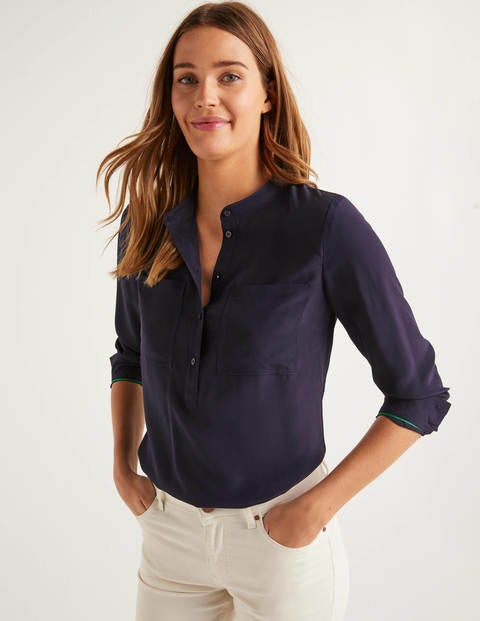 Silk Collarless Blouse - Navy