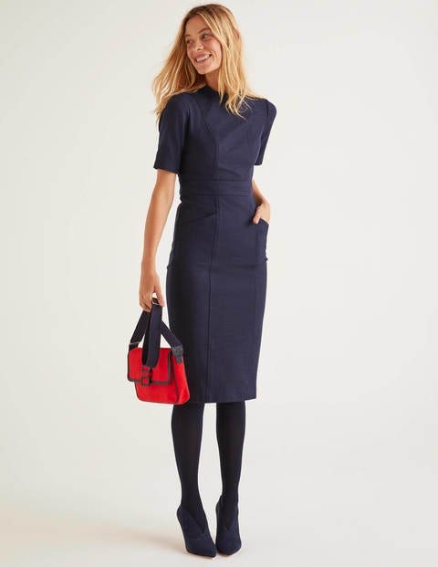 Louise Textured Dress - Navy