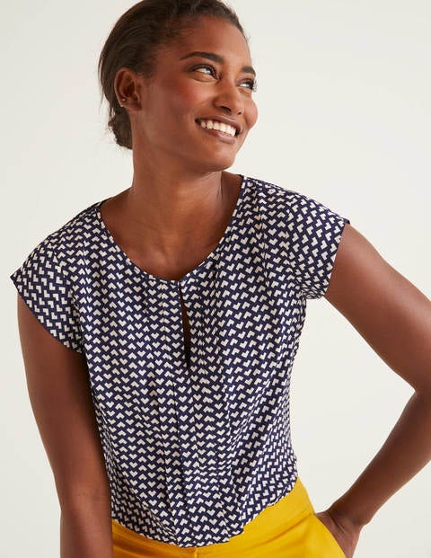 Pleat Front Top - Navy and Ivory, Ticker