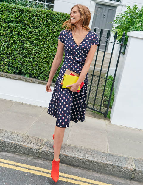 Olive Wrap Dress - Navy, Polka Hoops