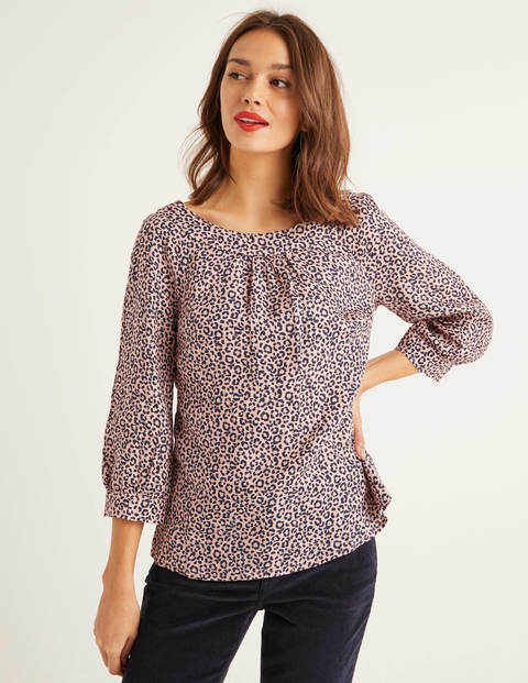 Lavinia Linen Top - Milkshake, Animal Stamp