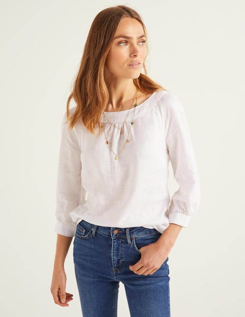 Lavinia Linen Top - White