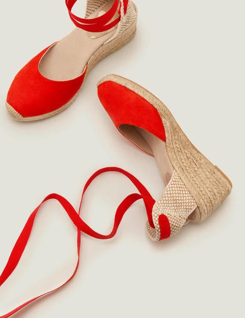 Cassie Espadrille Wedges - Post Box Red