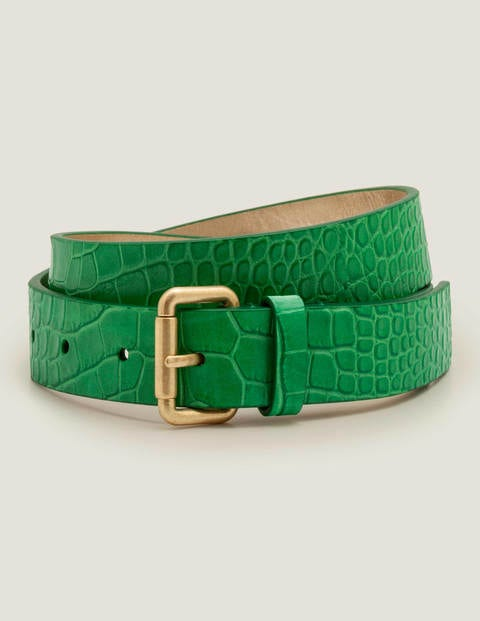 Classic Buckle Belt - Rich Emerald Croc