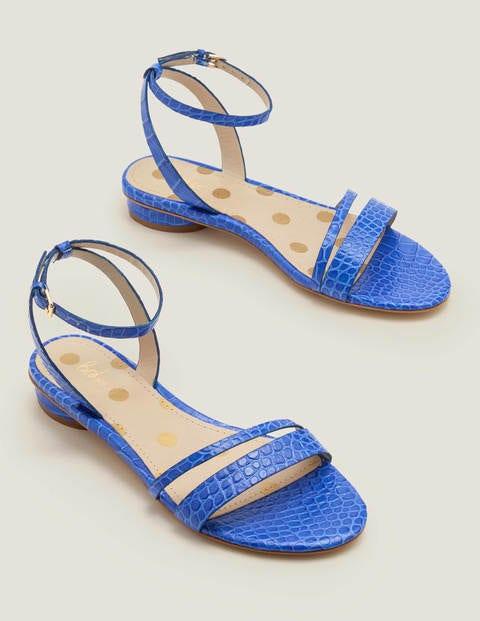 Freya Sandalen - Kräftiges Blau, Krokodilmuster