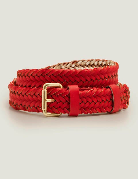 Woven Buckle Belt - Post Box Red