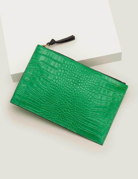 Large Keepsake Pouch - Rich Emerald Croc/ Navy