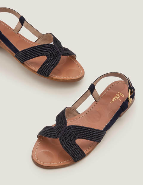 Sandales Katrina en raphia - Bleu marine