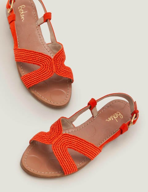 Katrina Raffia Sandals - Orange Sunset
