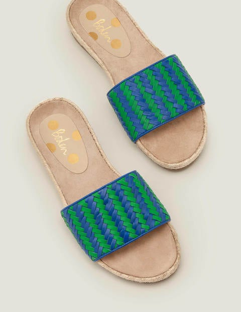 Imogen Footbed Slides - Bold Blue/ Rich Emerald
