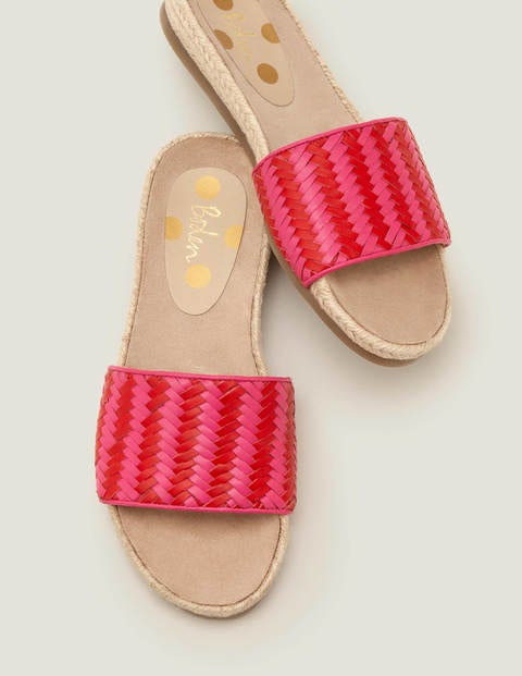 Imogen Footbed Slides - Party Pink/ Post Box Red