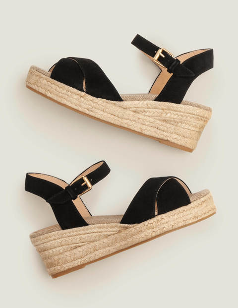 Jasmine Espadrille Wedges - Black