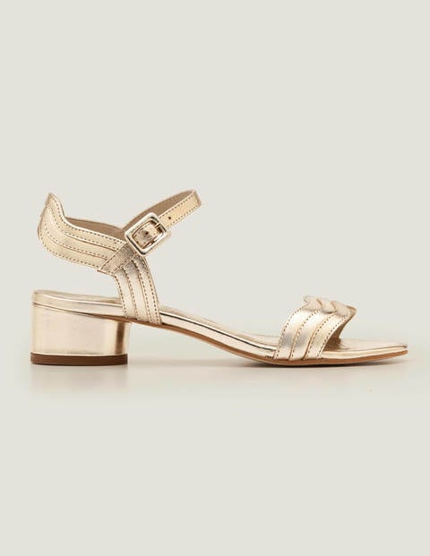 Blockabsatz Sandalen mit Wellen Gold Metallic