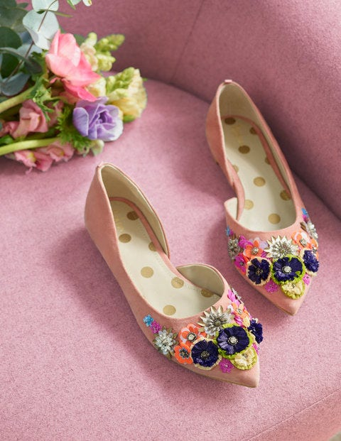 Cynthia Embellished Flats - Dark Chalky Pink