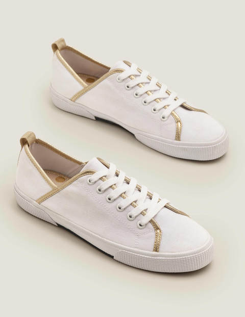 Laurie Plimsolls - White/Gold Metallic