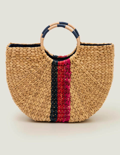 Cleopatra Straw Bag - Navy Multi