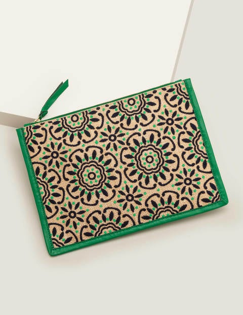 Mariana Embroidered Clutch - Rich Emerald Geo