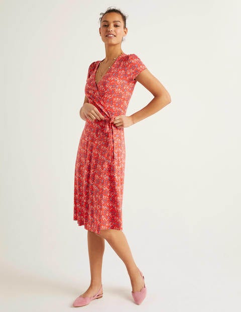 Summer Wrap Dress - Orange Sunset, Garden Charm