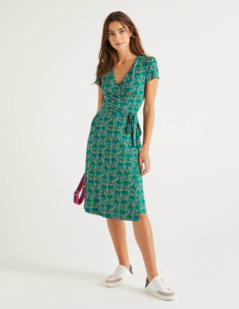 Summer Wrap Dress - Forest, Garden Charm