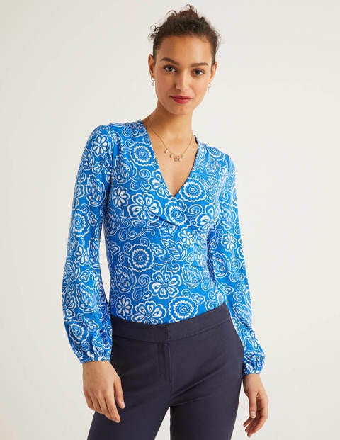 Elodie Jersey Wrap Top - Bold Blue, Floral Delight