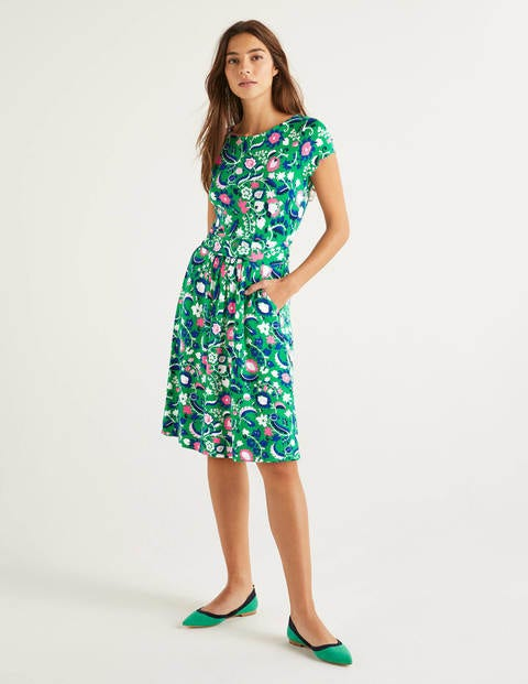 Robe Amelie en jersey - Émeraude profond, motif Tropical Retreat