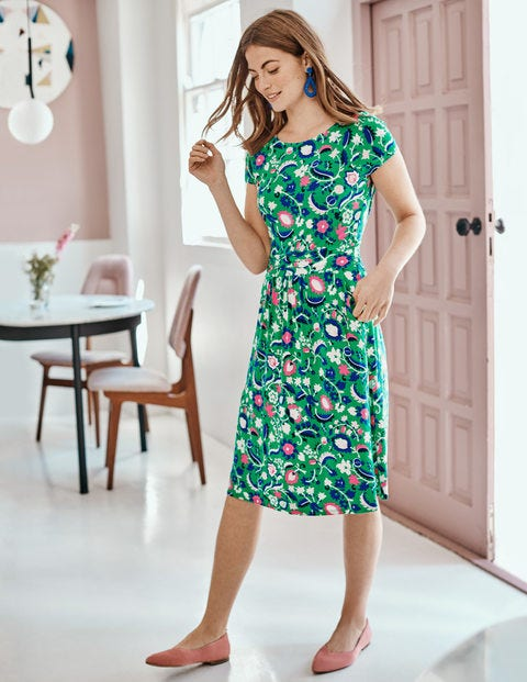 Amelie Jersey Dress - Rich Emerald, Tropical Retreat