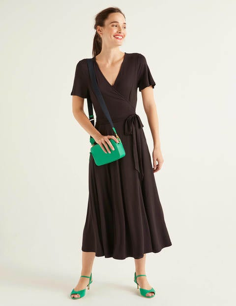 Cassia Jersey Midi Dress - Black