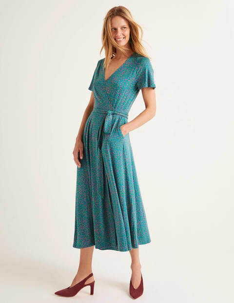Cassia Jersey Midi Dress - Vibrant Teal, Speckle