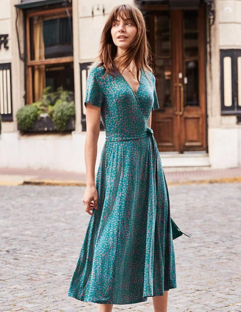 Cassia Jersey Midi Dress - Vibrant Teal, Speckle