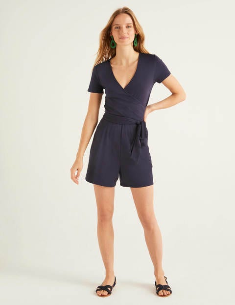 Caroline Jersey Playsuit - Navy
