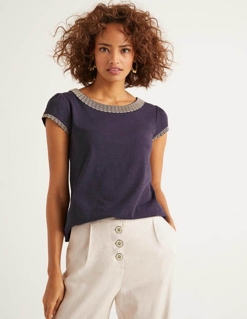 Sena Embroidered Jersey Top - Navy/Gold Scallop