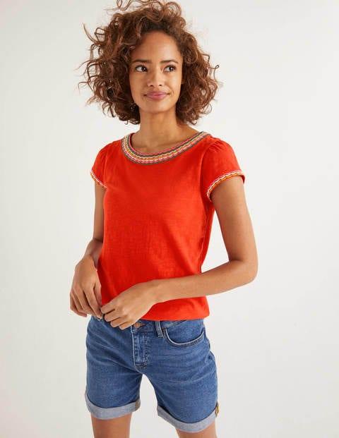 Sena Embroidered Jersey Top - Post Box Red/Multi Scallop