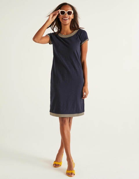 Sena Embroidered Jersey Dress - Navy