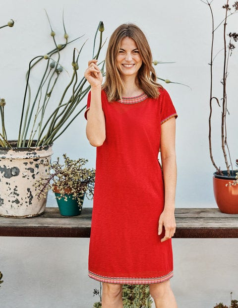 Sena Embroidered Jersey Dress - Post Box Red