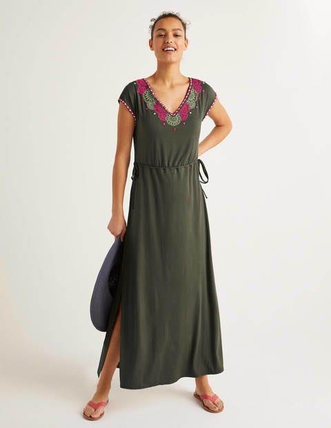 Marcia Embroidered Maxi Dress - Classic Khaki
