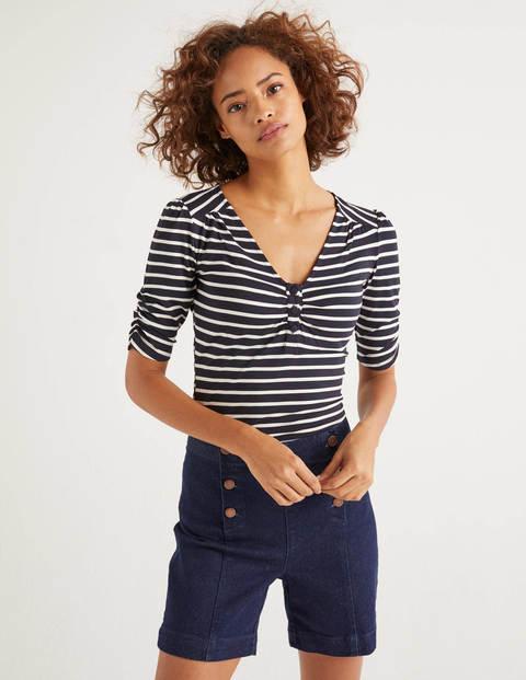 Jane Jersey Top - Navy/Ivory Stripe