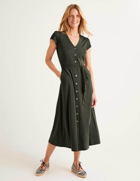 Frances Jersey Midi Dress - Khaki
