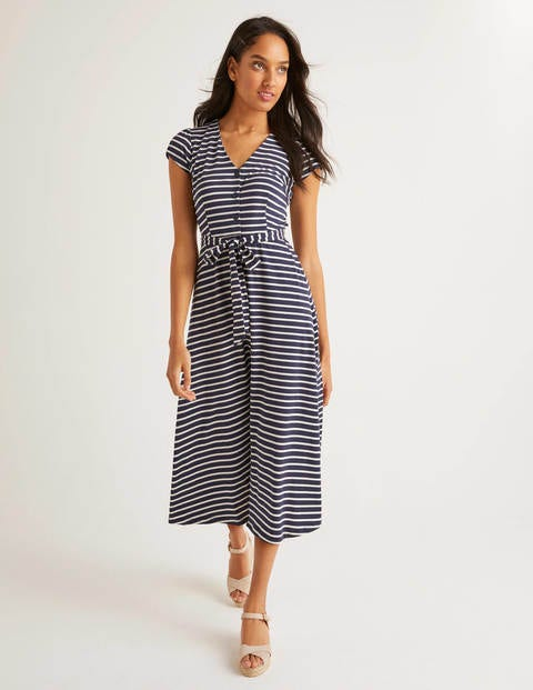 Frances Jersey Midi Dress - Navy/Ivory Stripe