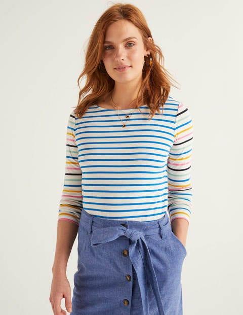 Long Sleeve Breton - Ivory/Bold Blue Multi