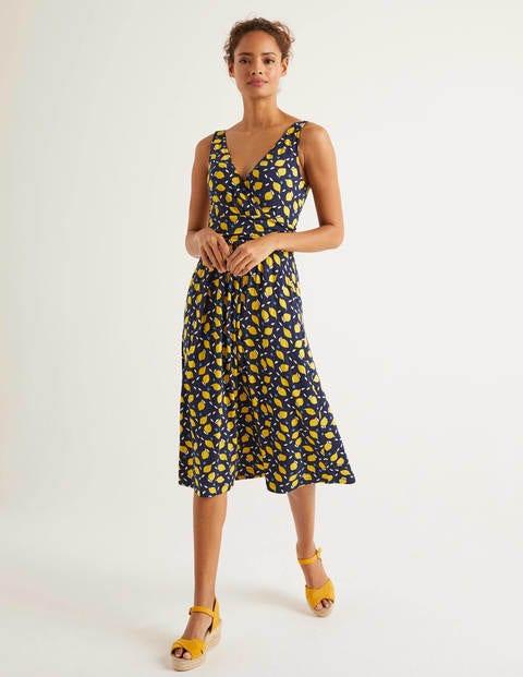 Effie Jersey Dress - Navy, Lemon Fruit