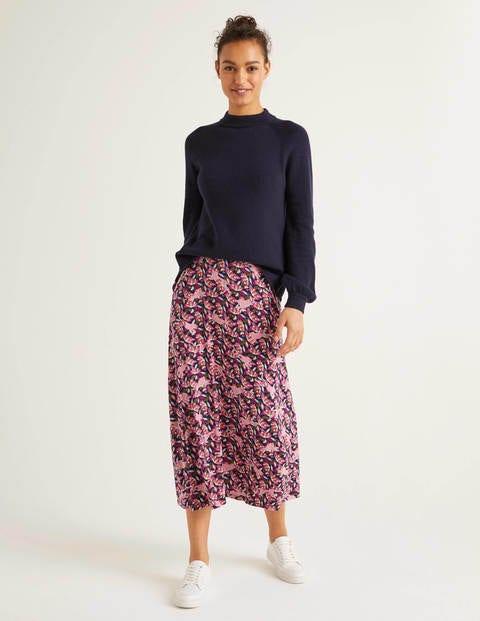 Jersey Midi Skirt - Navy, Cheetah Bloom