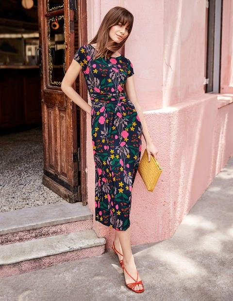 Faye Jersey Midi Dress - Navy, Garden Charm